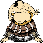 Image of sumo fighter in a skirt