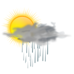 Vector illustration of weather forecast color symbol for sunny with rain