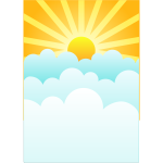 Sun rising above clouds vector drawing