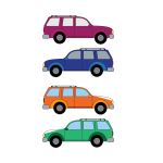 Vector image of family cars