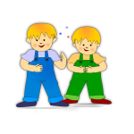 Vector clip art of twin brothers children