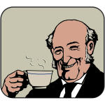 Bald man drinks steaming tea color vector image