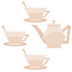 Vector image of three teacups and teapot