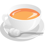 Vector illustration of tea cup served on saucer with sugar and spoon