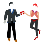 Vector image of couple having a drink toast