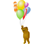 Teddy bear holding balloons vector drawing