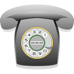 Grayscale rotary phone vector graphics