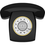 Black rotary phone vector image