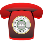 Red classic phone vector clip art