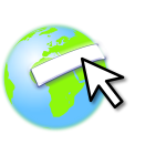 Earth logo with a mouse pointer vector image