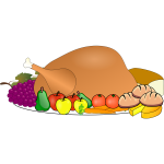 Thanksgiving day turkey serving icon vector clip art