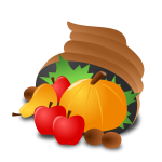 Vector clip art of food basket with a pumpkin
