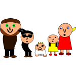 Vector clip art of weird cartoon family