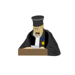 Judge at work vector drawing