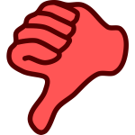 Vector clip art of red thumbs down hand