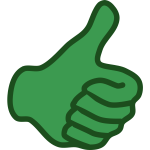 Vector image of green thumbs up hand
