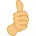 Vector drawing of thumbs up man hand