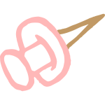 Pink thumbtack drawing