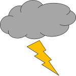 Vector illustration of cloud with thunderbolt weather icon