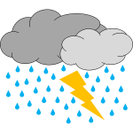 Vector image of two clouds with rain and lighting weather icon