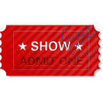 Vector image of  admit one ticket with stamp