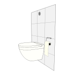 Vector image of modern toilet with cistern behind wall
