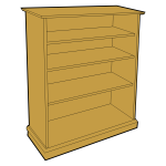 Wooden bookcase vector clip art