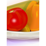 Photorealistic vector image of part of vegetables bowl