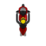 Vector clip art of top view of man on motorbike