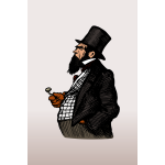 Illustration of gentleman in black suit with pipe
