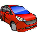 Red minivan vector illustration