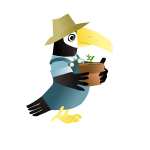 Vector image of parrot with hat