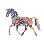 Horse silhouette colored stripes pattern