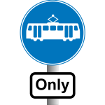Trams road sign