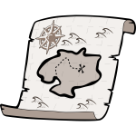 Old treasure paper map