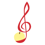 Vector illustration of treble clef made of a peeled apple