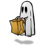 Ghost with a paper bag with shadow  vector image