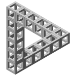 Drawing of impossible triangle formed out of cube constructions