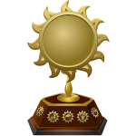 Vector drawing of gold sun shaped trophy