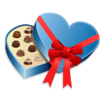 Blue heart-shaped box of chocolates vector image