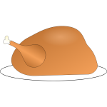 Vector image of turkey on platter