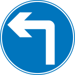 Turn ahead road sign