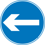 Turn left road sign