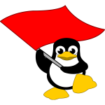 Tux waving red flag vector image