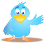 Clip art of blue bird waving its wing