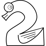 Swan number two line art vector image