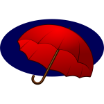 Red umbrella on a blue background vector graphics