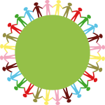 Clip art of people holding hands around green circle