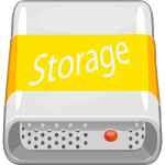 Vector image of orange colored PC storage unit