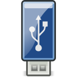 Vector image of small shiny blue USB stick